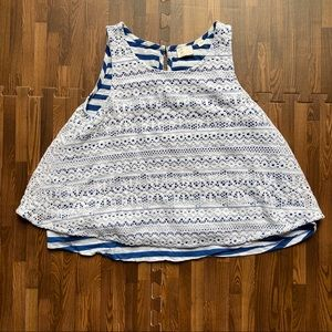 {Anthro} Postmark Lace Overlay White Blue Striped
